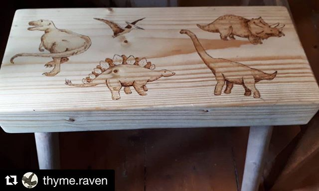 #repost from the extremely talented @thyme.raven who transformed one of our milking stools into this beauty! ...@repost @thyme.raven A stool of dinosaurs ... because any excuse for a dino is good by me 😎#big #marchmeetthemaker @walnuthollow @woodburncorner Thank you to @gingerandtweed  for the beautifully made stool