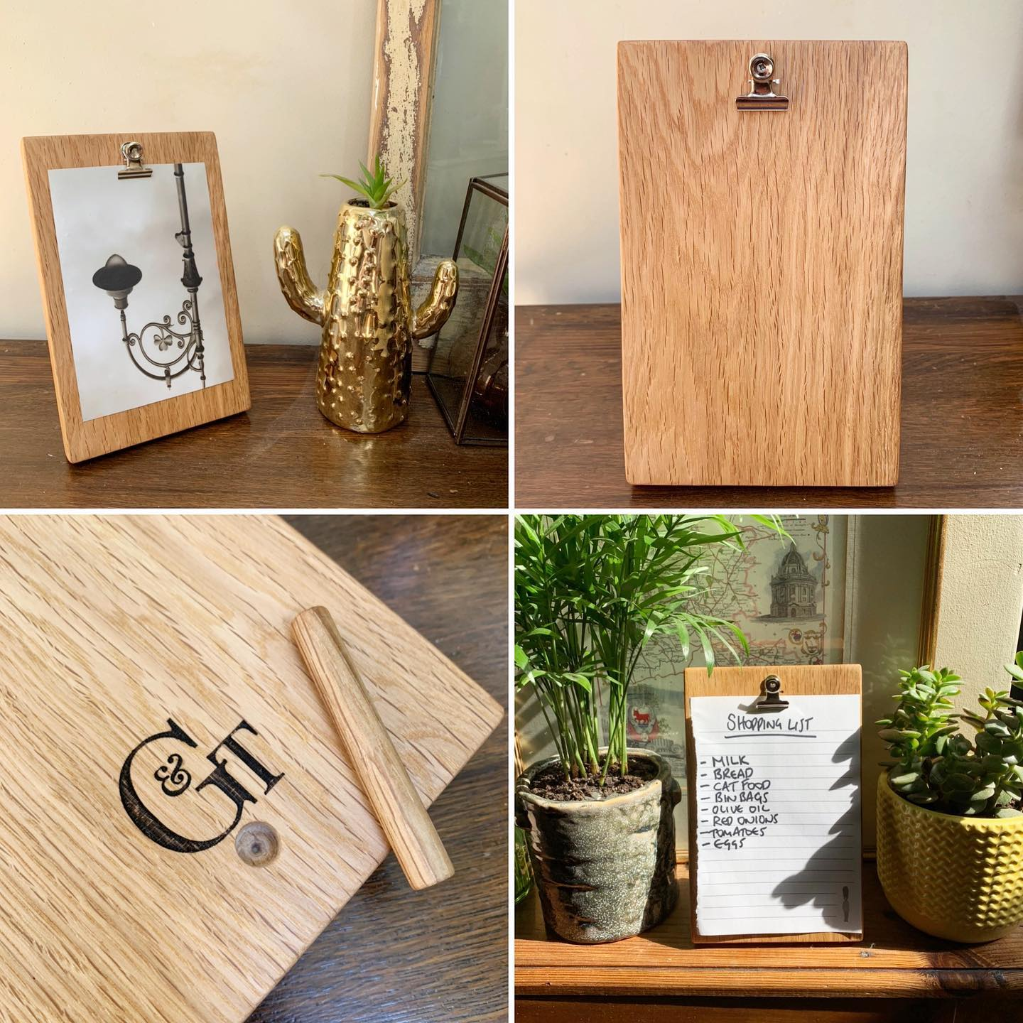 Handcrafted Oak photo/note stand now available on our website. This simple design is great for photos, notes or shopping lists. The clip mechanism means that changing what you have on display is super quick and easy. £12 + P&P ...#anotetosay #memo #photoframe #postitnotes #handcrafted #homewares #gingerandtweed #workingfromhome #homedecor #display #simplicity #oak