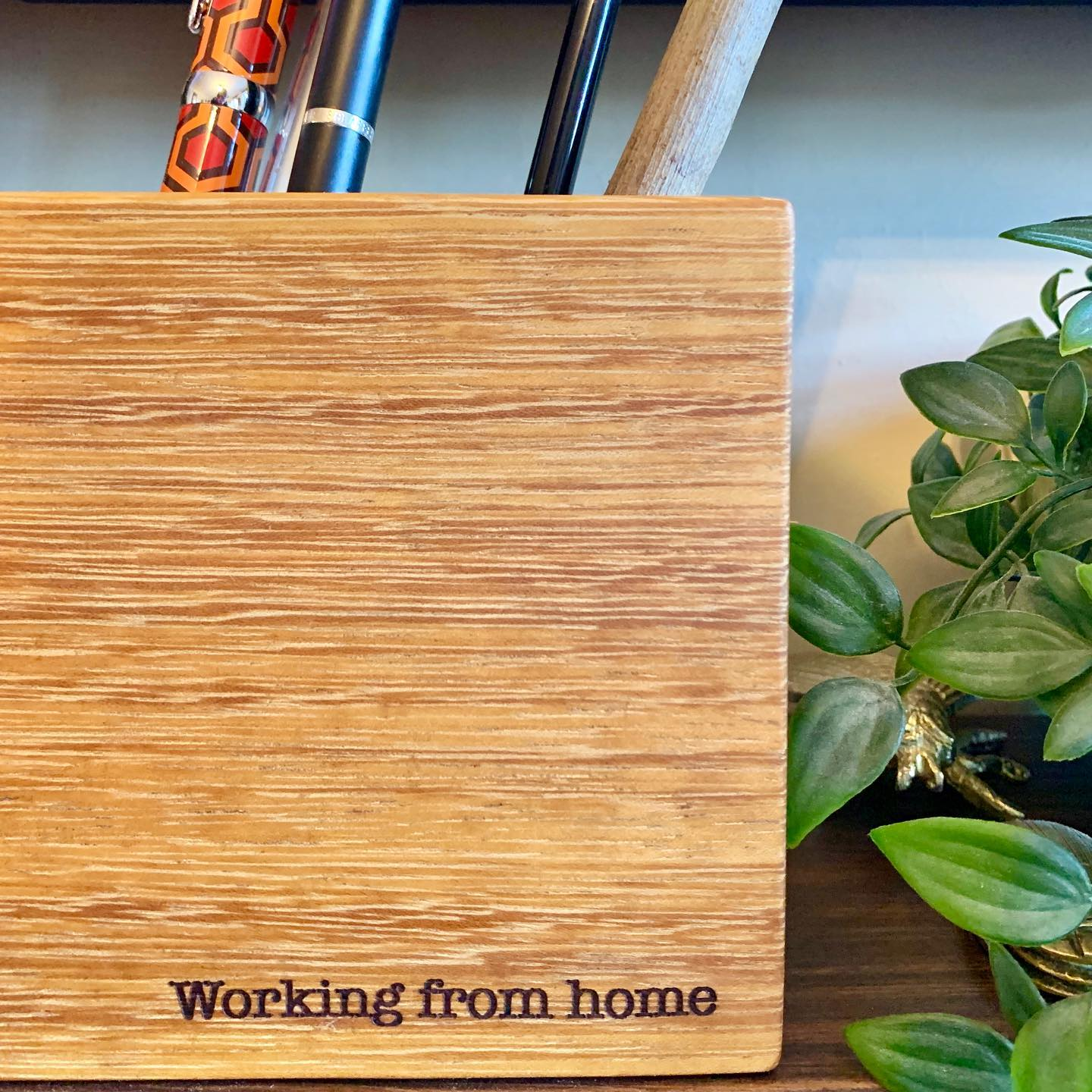A little something we've been working on this week... ️These Iroko desk tidies are available with or without personalisation. Do get in contact if you have any requests. Desk Tidy-£14 +P&P £17 +P&P for a personalised one...#workingfromhome #personalised #inthistogether #homewares #office #desktidy #gingerandtweed #homeschooling