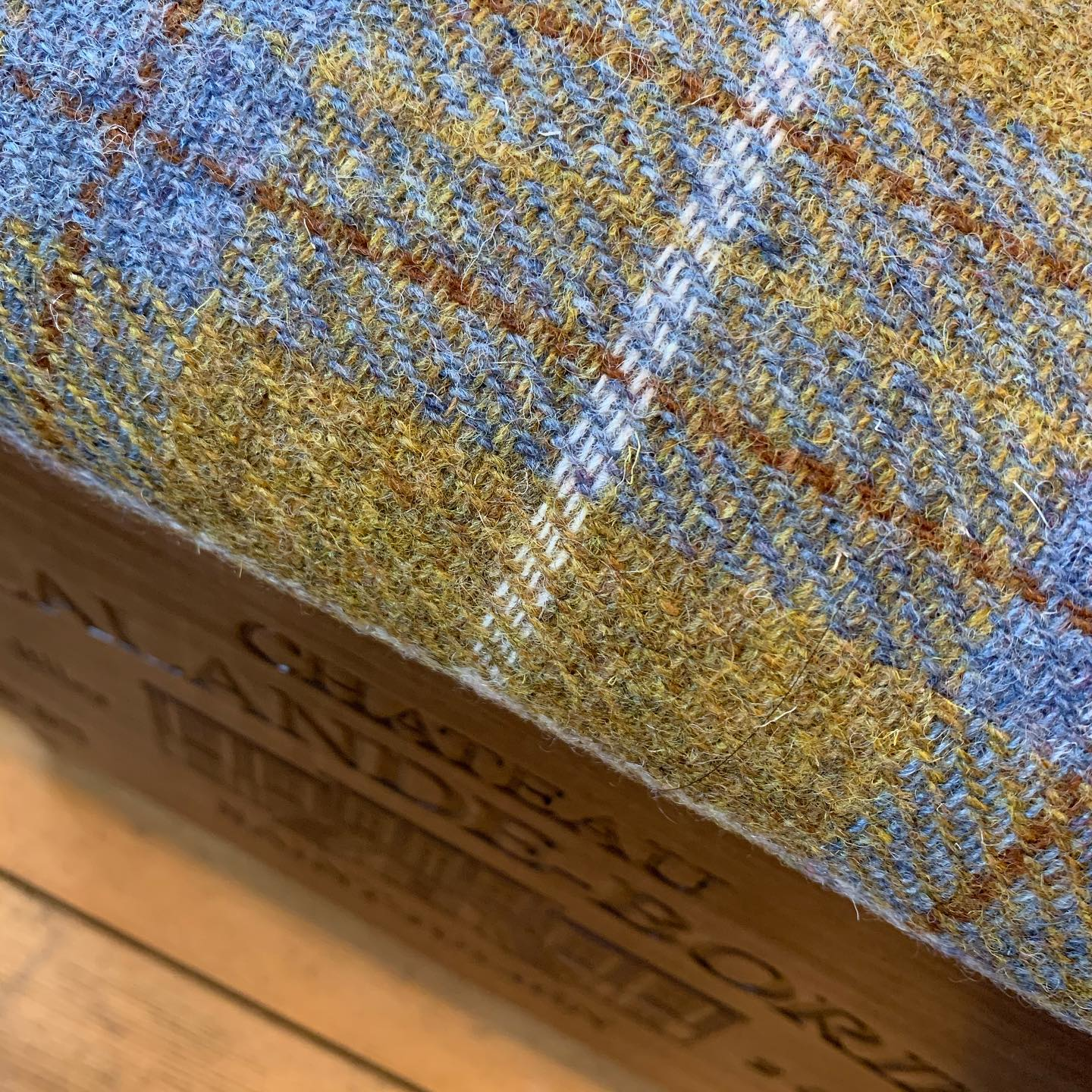 This Harris Tweed ottoman has to be one of our favourites to date. We're so pleased with how it's turned out. It should now be settling in nicely to its new home. ...#harristweed #goldandblue #tweed #ottoman #upholstery #footstool #handcrafted #homewares #homedecor #livingroomdecor #room #storage #check #beautifulfabric #traditional #cottagelife #countryside
