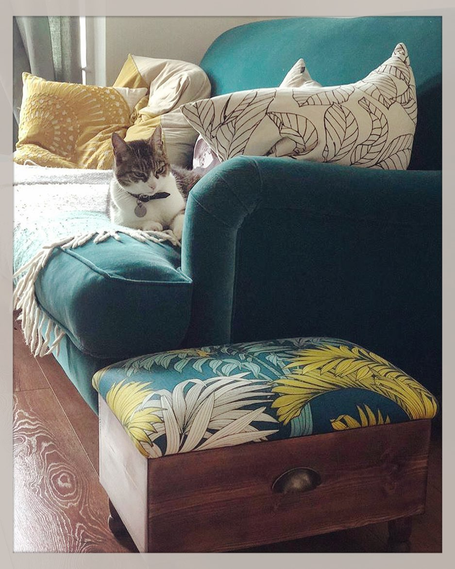 Love this photo we received from a happy customer 🐈 It brings us so much joy to see one of our pieces fitting in so beautifully with the decor   We can use any fabric you'd like to compliment your home and these ottomans make a great gift for a friend or loved one as they're both useful and a statement piece for the home. Also... how cute is Diago? He looks suspicious of the ottoman but we're assured he likes it! ...#handcrafted #homewares #bespoke #customise #createyourown #madetoorder #gingerandtweed #homedecor #smallbusiness #virtualcraftandflea