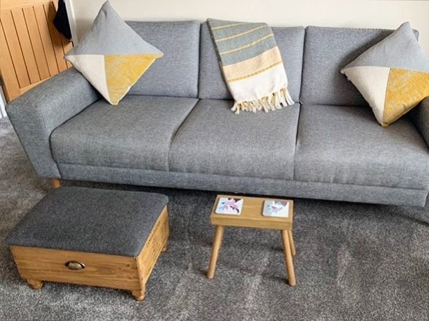 We love seeing our products in your homes! This ottoman and stool duo look so great against the grey and yellow decor ....#beautifuldecor #home #share #lifestyle #interiordesign #handcrafted #homewares #ginger #tweed #workingfromhome #design upholstery #furniture #herringbone #woodworking