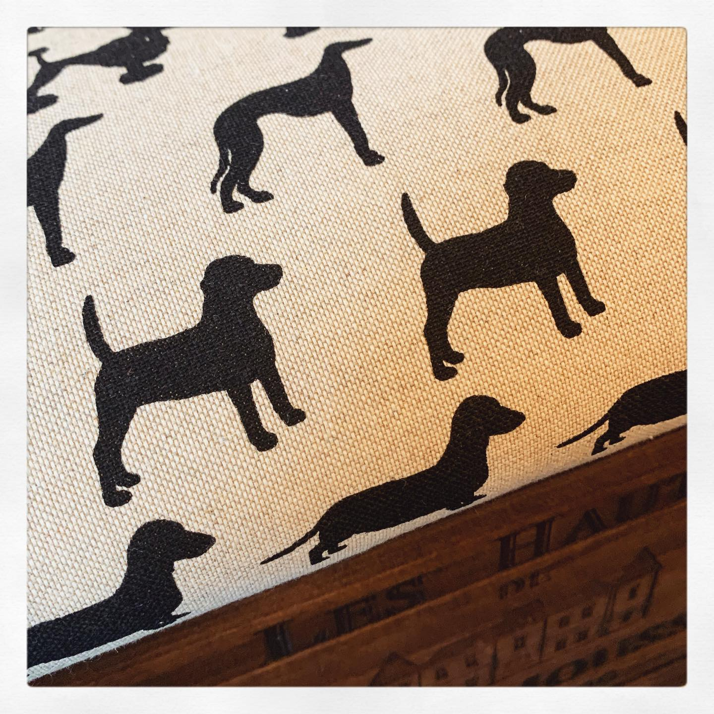 Making some new stock for @wadswick Country Store today. Super excited to use this fabric again!...#equestrian #countrystore #home #closetohome #local #handmade #dogs #pattern #footstool #beautifulprint