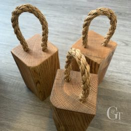 Extra Character Solid Oak Door Stop - Standard with Rope Handle