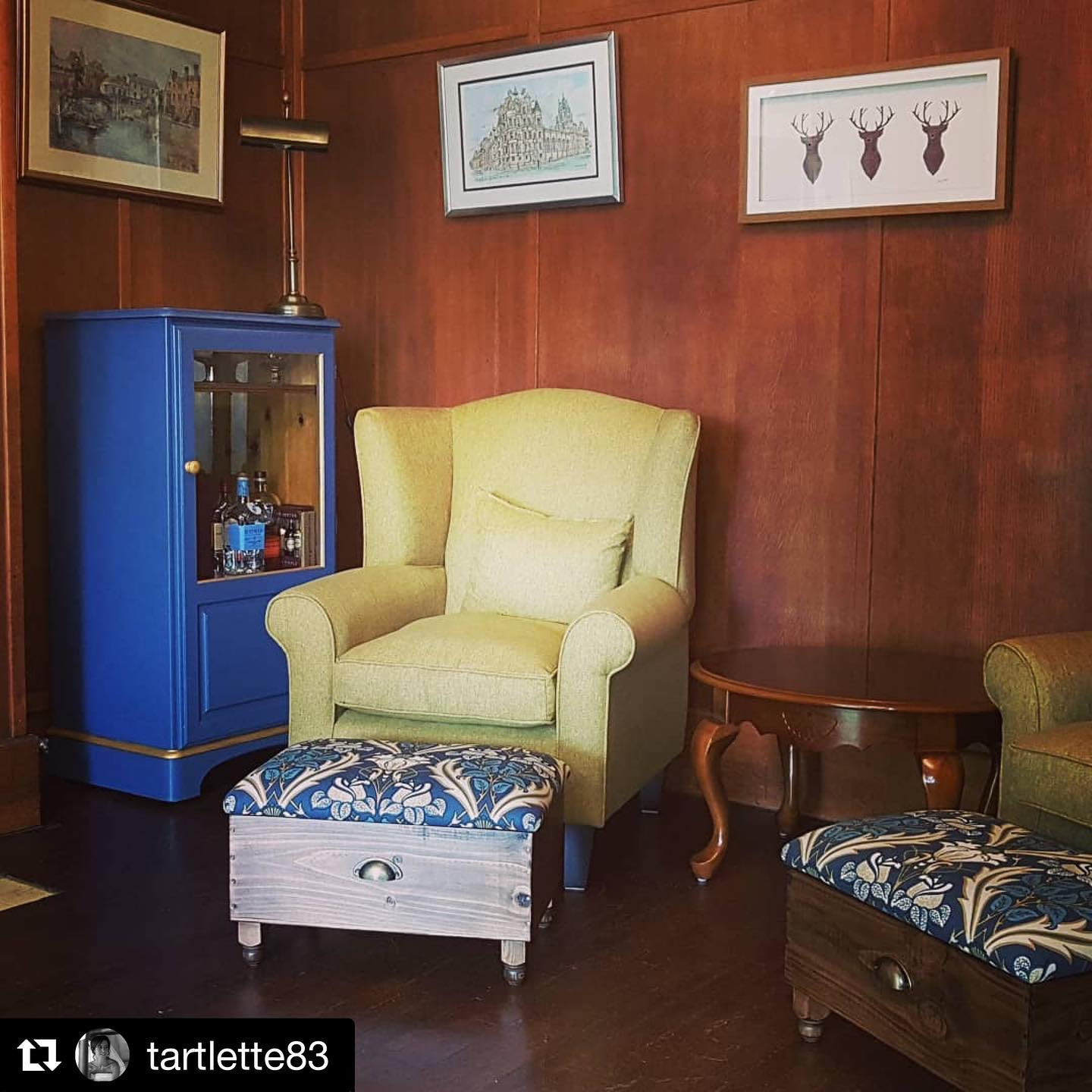 What a room!!!??! Great to see this post from a happy customer! ...#repostThis room is coming together nicely. Loving our new wine box ottomans from @gingerandtweed . They look amazing! #decor #interiors #interiordesign #woodpaneling #ottoman #drinkscabinet #traditionalmeetsmodern #nokidsallowed #1930shouse