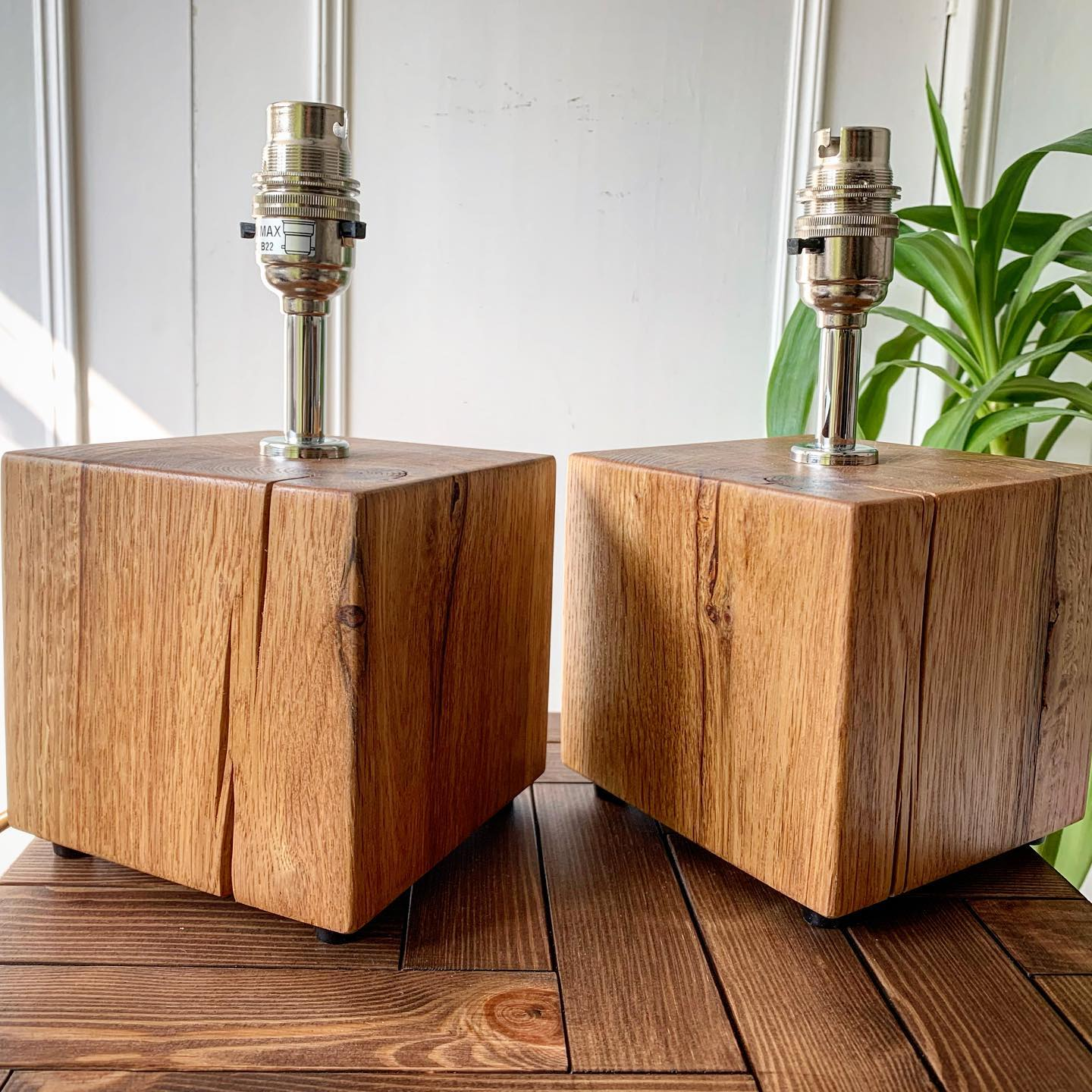 This lovely pair of lamps are all wired up and ready to go to their new home in a few days! They're so cute!!!! ...#lampbase #oak #handcrafted #moodlighting #bedsidelamp #pair #matchingnotmatching #ginger #tweed #smallbusiness #bespoke #specialorder #commission #craft #unique #characterful #madefromwood