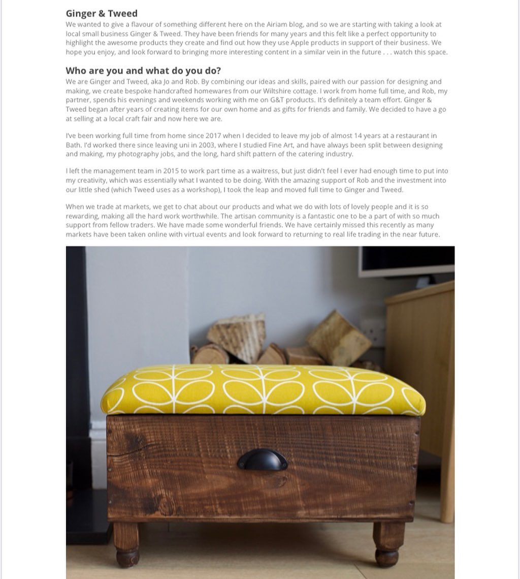 We've been included in an online blog post this week and it's such a lovely article. Head over to www.airiam.co.uk/ginger-and-tweed for the full post...#blog #article #apple #mac #woodworking #handcrafted #homewares
