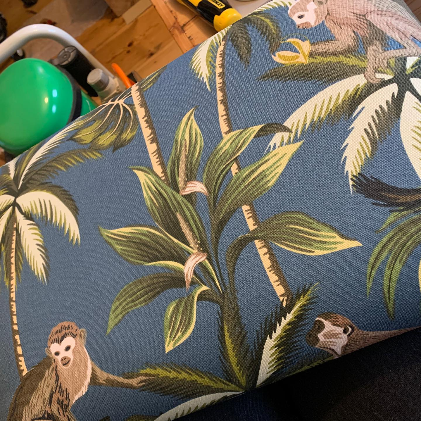 New fabric!   Hoping to share the finished product with you tomorrow. ...#upholstery #quirky #beautifulfabric #print #monkey #animallover #footstool #ottoman #handcrafted #homedecor #livingroom