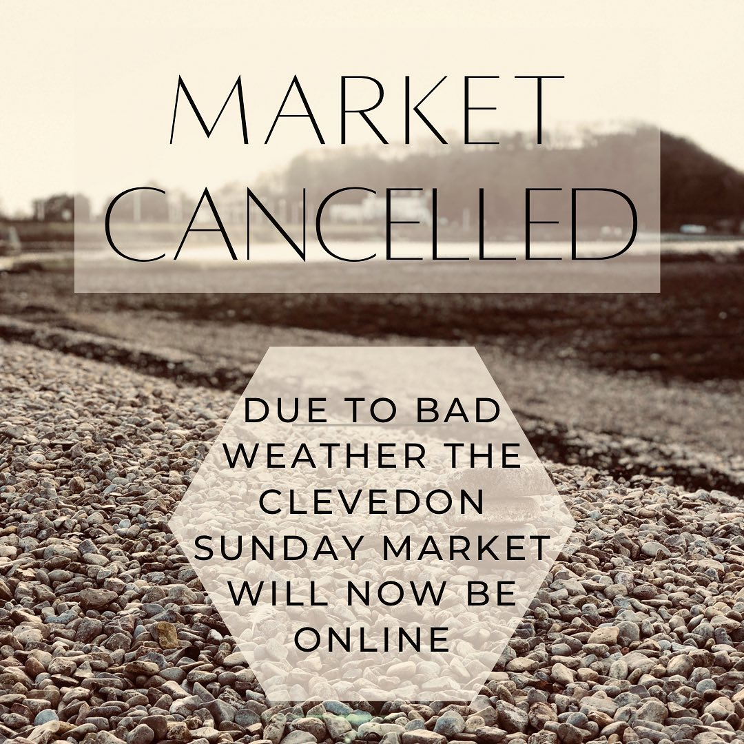 Unfortunately Tomorrow's market has been cancelled due to bad weather. We will be posting a range of products over in the Virtual Clevedon Sunday Market Group on Facebook.Please help support the small businesses who have been busy preparing for this event by joining the group to browse and shop. We hope to be back in Clevedon very soon!#westcountryweather #shoponline #clevedon #sundaymarket #cancelled #anothertime #bringbackthesummer #home #bythesea #shopsmall #shopindeoendent #supportsmallbusinesses #inthistogether #community