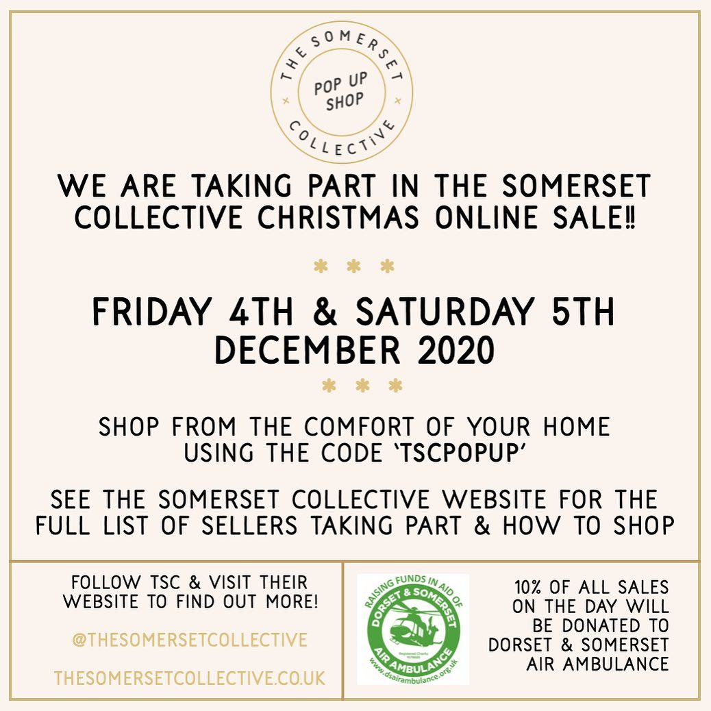 Hi everyone! It's been a busy week here at G and T HQ! Thank you to everyone who is has purchased something, we are so grateful and enjoying making all your items. We wanted to let you know about this fabulous event coming up that we're really excited to be involved in! @thesomersetcollective Christmas pop up in a couple of weeks time. 10% of all sales go to charity and many of the makers involved are also offering extra discounts and free gifts. Head over to their website for a sneak peek at who is involved and why not start a list of items to revisit on Friday the 4th and Saturday the 5th December. and spread the word! ...#popup #christmas #market #somersetcollective #artisan #homeedecor #gift #makers #local #shopsmall #festive #onlinecraftmarket #december #advent #gingerandtweed