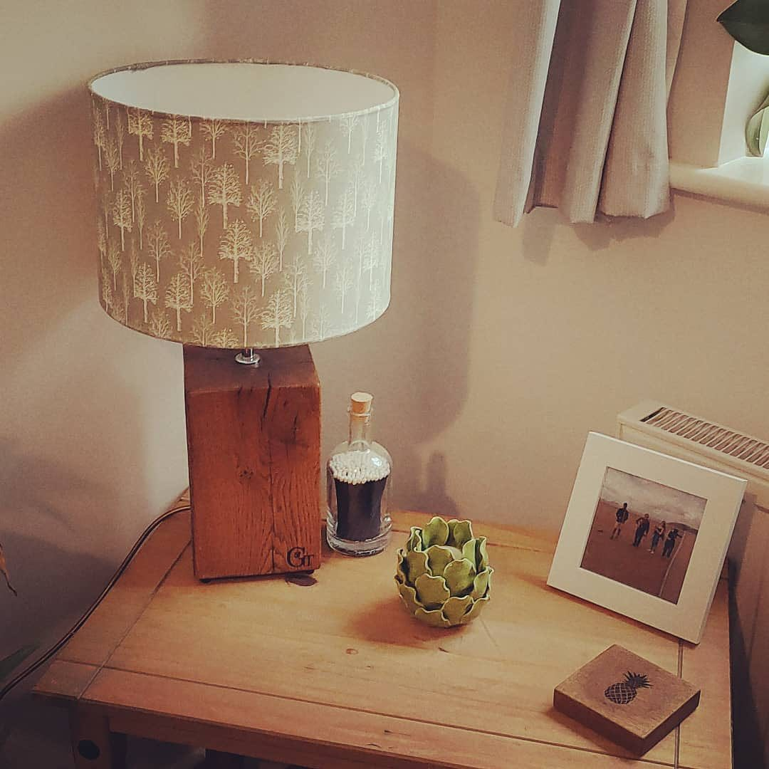 """This is such a lovely post from a happy customer! Thank you @ourlittlepatch_no.1 ️""""I love this lamp so much, base by the amazing @gingerandtweed ( also the coaster which was included as a special gift with another order), lampshade I made myself! """"#shoplocal #newbuild #cornerofmyhome #hillshome #homeowner #firsthouse #housetohome #housedecor #newbuildhome #handmade"""