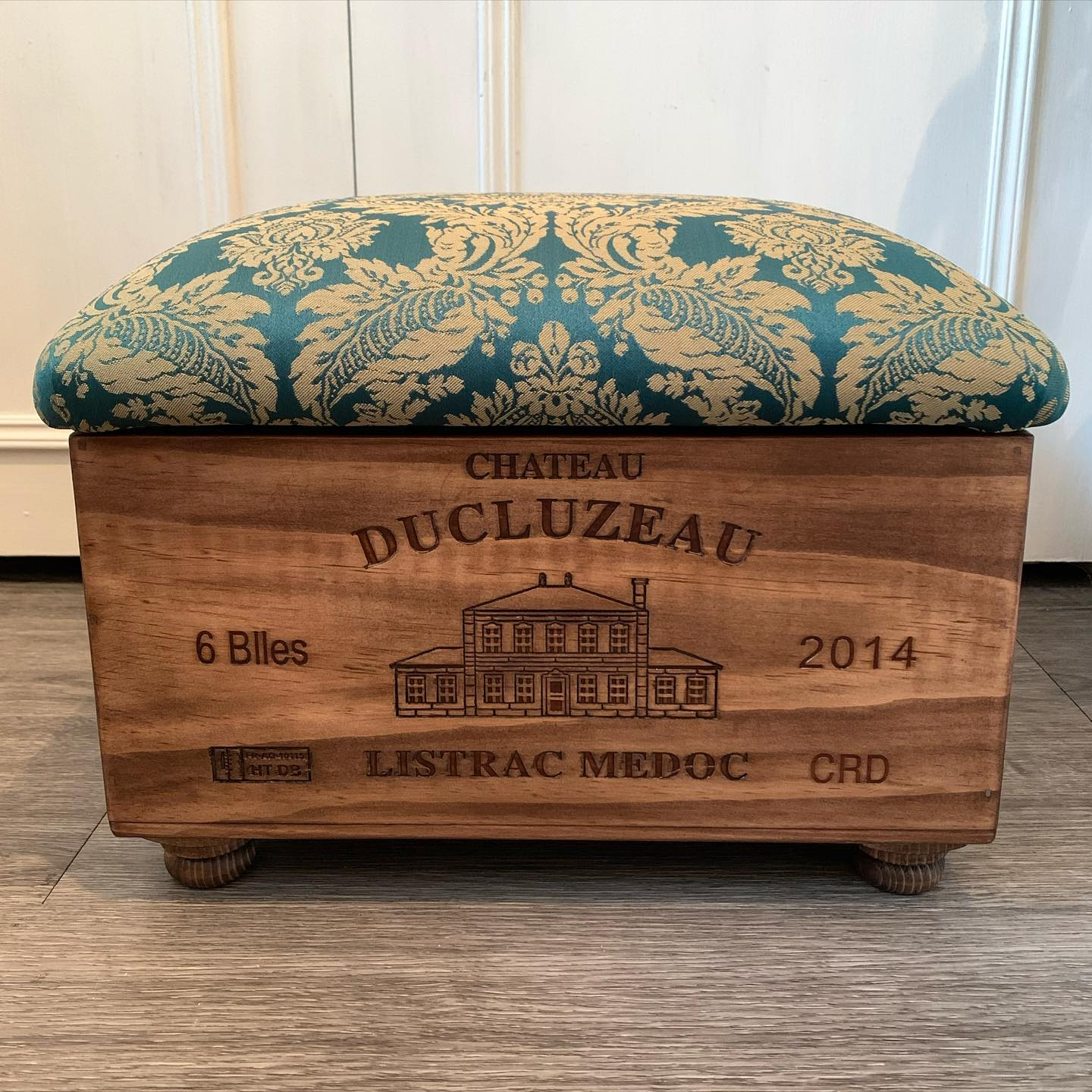 The cutest little ottoman! We've adapted our classic design so that this cutie will fit perfectly underneath the chair it's going with. I just love it!..#teal #paisley #footstool #storage #matchingset #handcrafted #homewares #livingroomdecor #home #winebox #recycle #reuse #history #newlife
