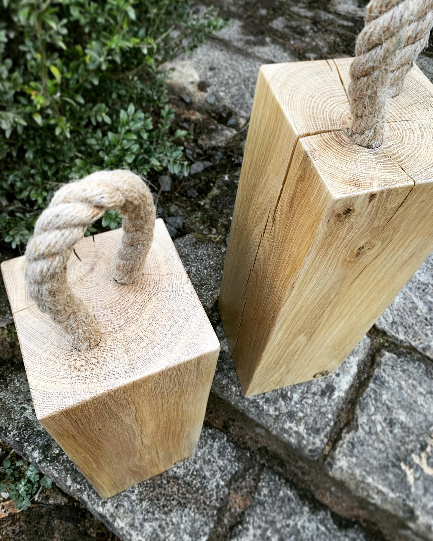 These enormous beauties are for sale!£59 each plus shipping. ONLY 2 AVAILABLEThey're solid oak with a rope handle, measuring 15cm x 15cm x 45cm tall (not inc rope) and weighing around 8.5kg. Perfect for heavy doors or those with a step. With the signs of spring arriving this week, it's a great time to be propping those doors open and letting in the fresh air.Please comment or DM of you'd like one (or both) of these...#springisintheair #firstsignsofspring #opendoor #freshaor #oak #doorstop #handcrafted #home #ginger #tweed