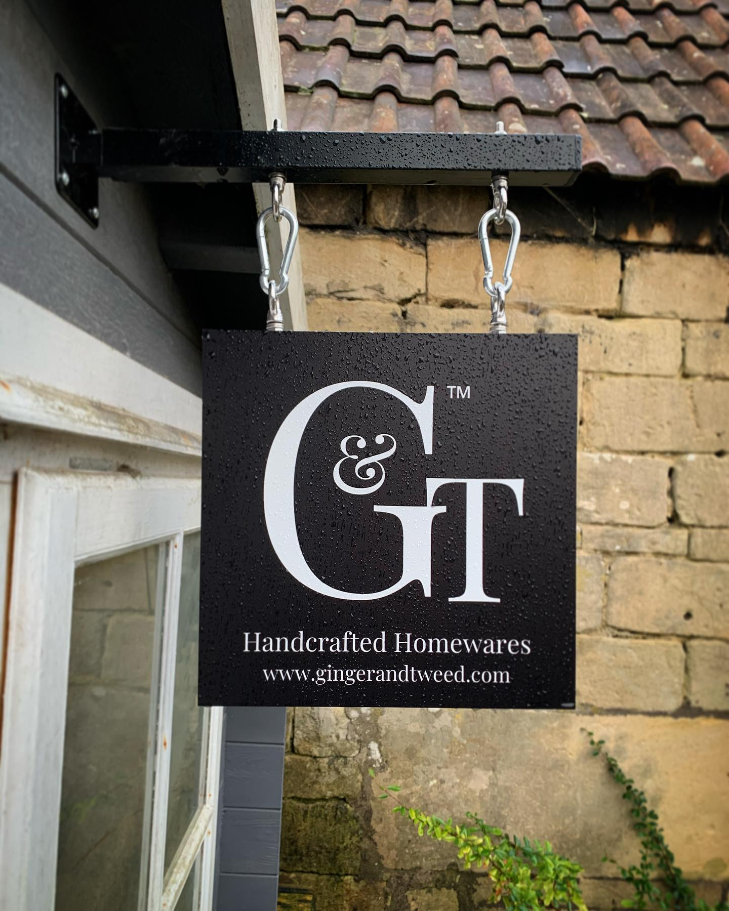I had this sign made for Tweed for his birthday Such a lovely new addition to our garden workshop! #brand #designasign #logo #handcrafted #homewares #ginger #tweed #workshop #gardenstudio #garden #shop