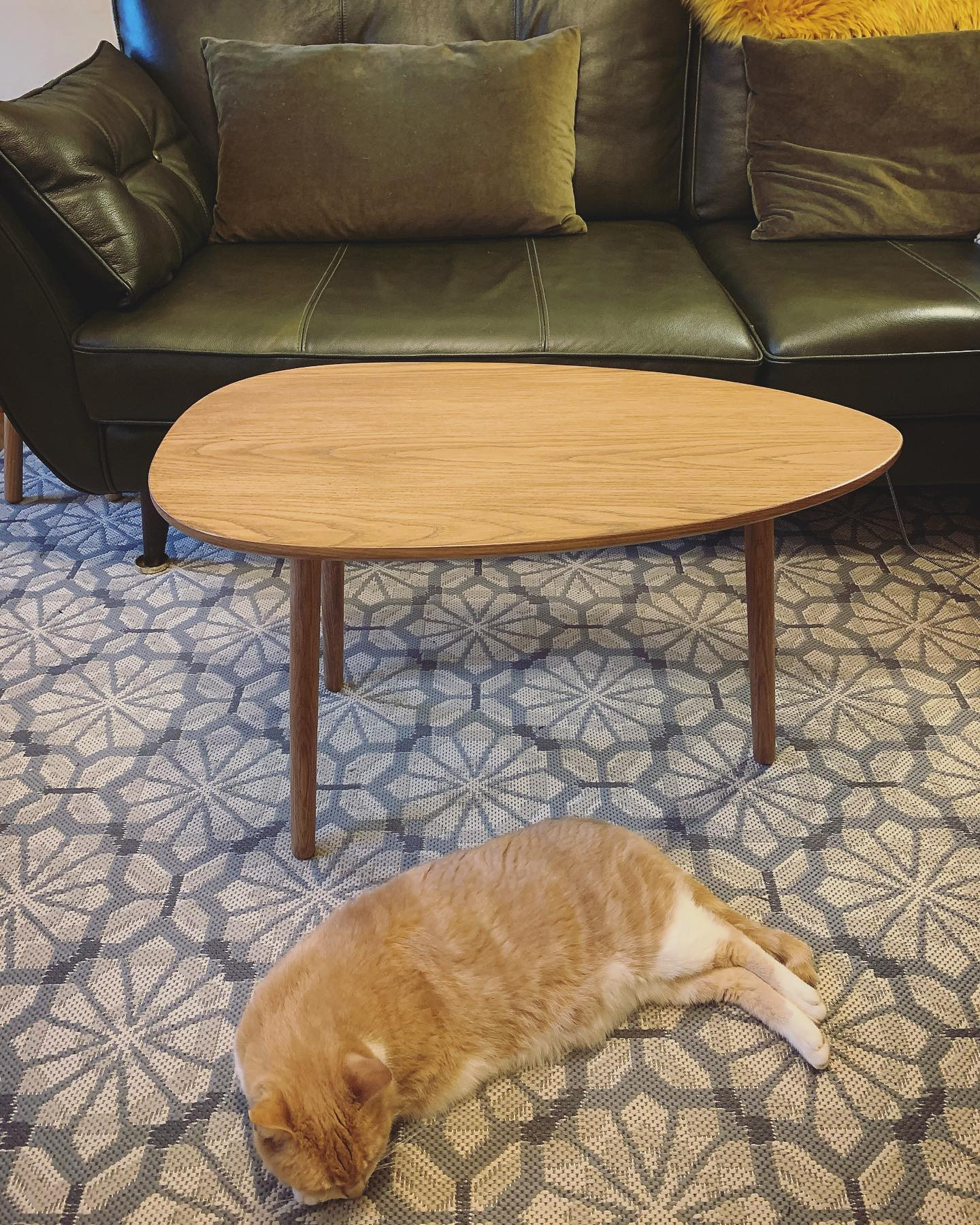 Totally In love with this table! This is our favourite part of making bespoke pieces, when we can stand back and take in the finished article. Georgie likes it too Have a comfy Friday evening everyone! ...#midcenturymodern #bespoke #oak #handcrafted #homewares #geometric #modern #ercolstyle #