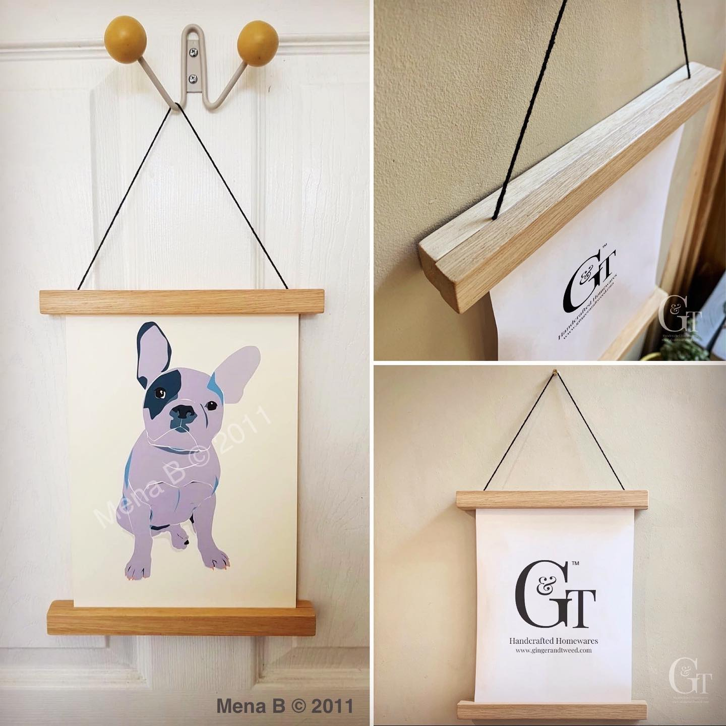 Introducing our oak magnetic poster frame  After a giveaway collaboration last week with @menaluciab we have now added this product to our website. £10 plus postage- available from www.gingerandtweed.com (link in bio)Display your favourite prints in style on any wall with these versatile hangers.Simply click the oak together together using the hidden 10mm neodymium magnets, strong enough to hold the heaviest of paper.At 25cm wide they are perfect for A4 portrait or A5 landscape prints but they can be as long as you like.Supplied with black hanging cord which you can change if required.Includes everything necessary for one poster/picture:4 x oak strips1 x black hanging cordBulldog print provided by Mena BastaInstagram @menaluciab#handcrafted #simplicity #display #homedecor #artisan #illustration #community #lifestyle #newproduct #gingerandtweed
