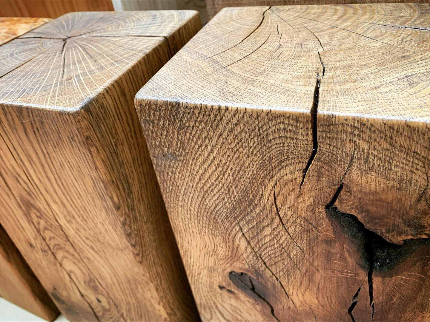 We love the character in oak! And we embrace all the splits, knots and imperfections. These beautiful lumps have been sanded and oiled and will soon become doorstops which we'll be taking to our upcoming market on Sunday in Clevedon.