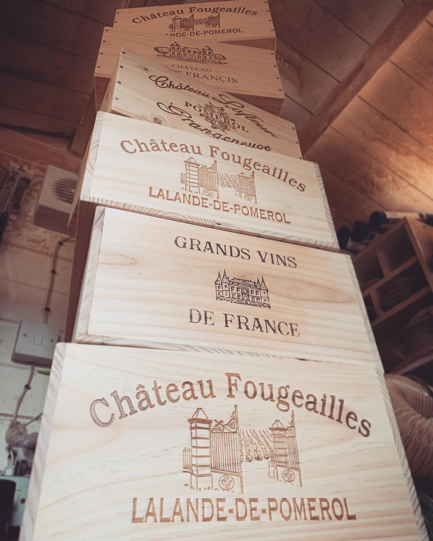 A satisfying pile of wine-boxes ready to be transformed! ...#workinprogress #handcrafted #homedecor #reclaimed #winebox #workshoplife #smallbusiness