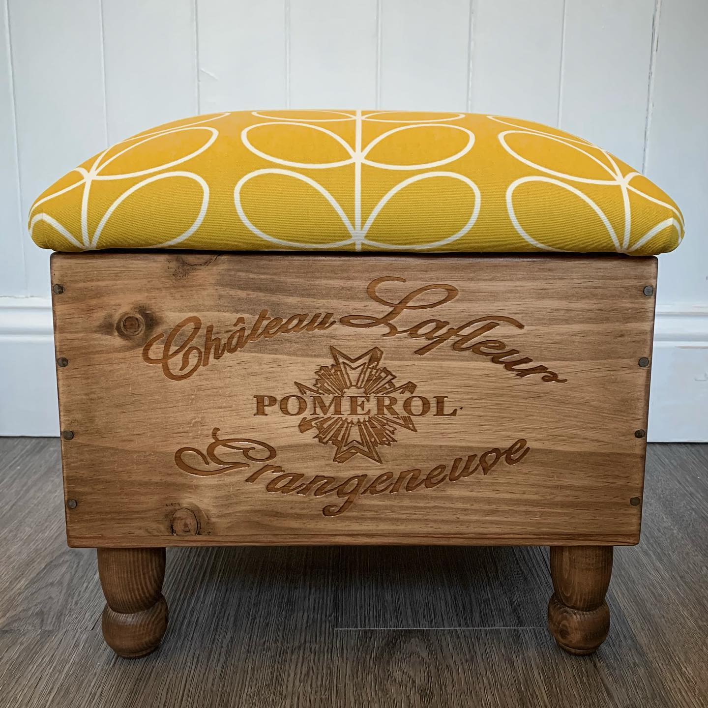 Working on some lovely bespoke ottomans today! This ochre yellow print is a perfect pick me up to brighten this grey day!