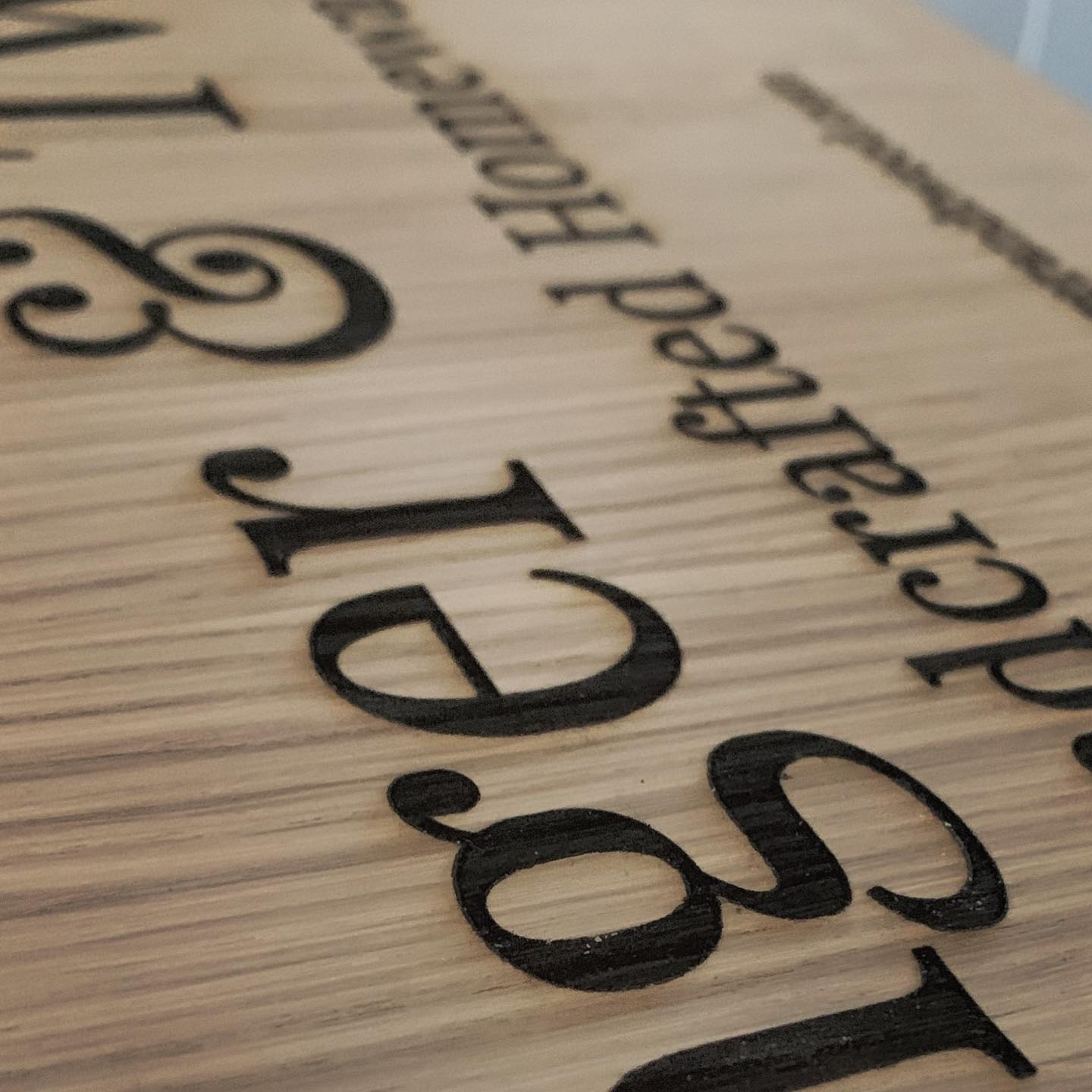 A glimpse at some new signage for our market stall  engraved oak 🧡excited to show you the finished article soon!..#smallbusinessuk #branding #signage #artisan #homewares #personalise #gingerandtweed