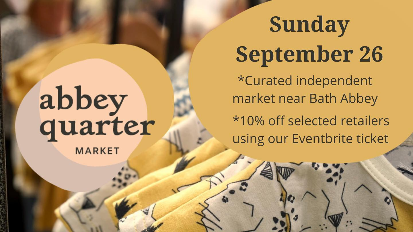 Thrilled to be back in Bath on Sunday for Septembers @abbeyquartermarket Find us next to the Abbey!.If you'd like to take advantage of the 10% discount that many of the traders are offering on Sunday, head over to the @abbeyquartermarket bio and follow the link. ...#bathmarket #bathartisan #wearebathartisan #abbeygreen #shoplocal #shopsmall #eventbrite #discount