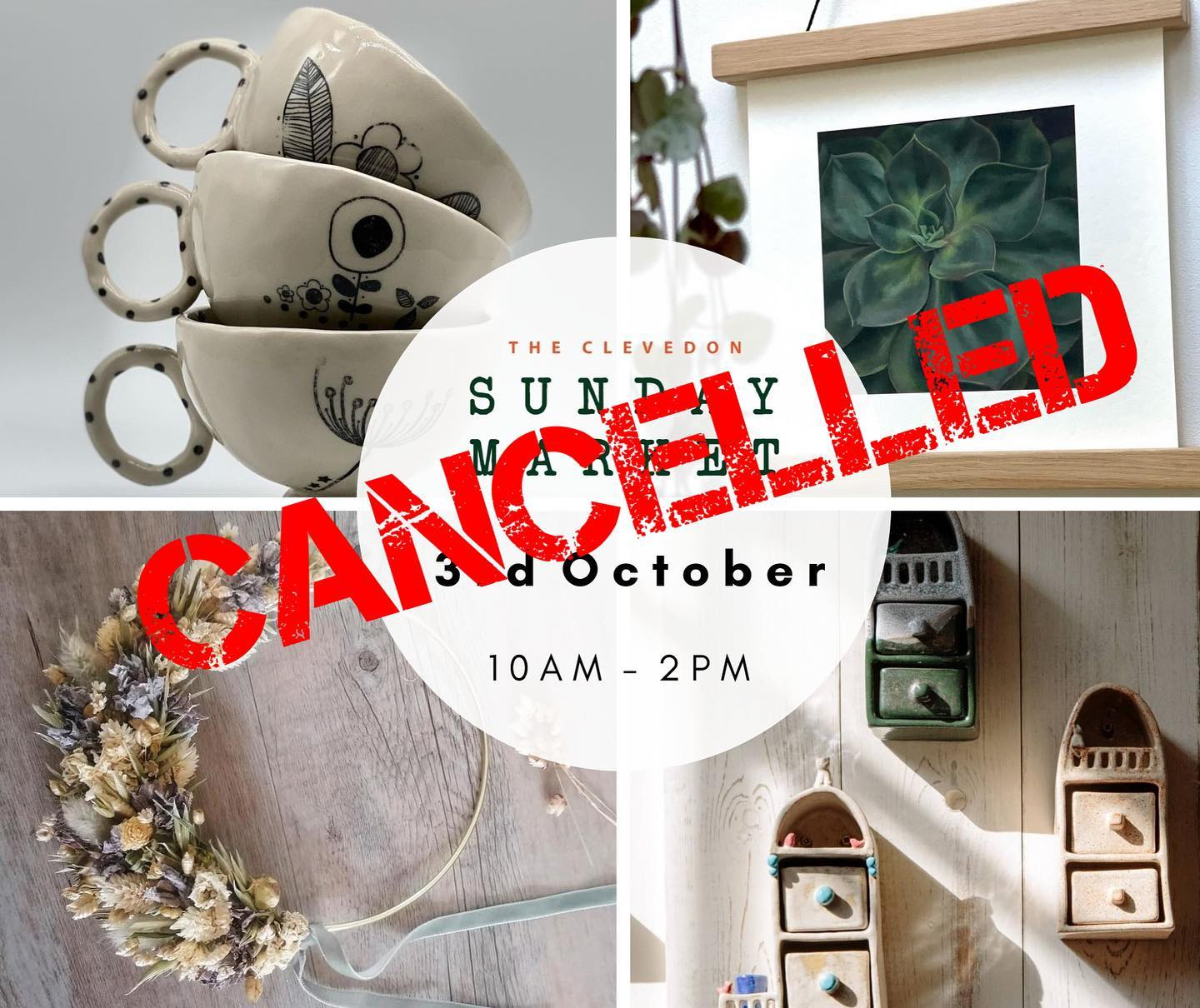 Due to the forecast of extremely high winds tomorrow, we are sad to let you know that tomorrow's @clevedonsundaymarket has been cancelled. You can still shop the independent businesses over on the virtual market Facebook group and we will share details of what we have for sale throughout the day tomorrow. The group will remain open for browsing and shopping until Friday 8th October https://www.facebook.com/groups/1580460532130846